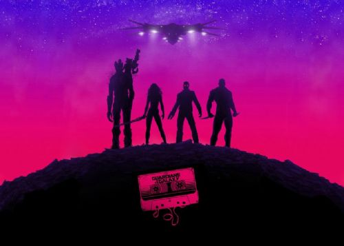 GUARDIANS OF THE GALAXY - PINK CASSETTE LS / canvas print - self adhesive poster - photo print